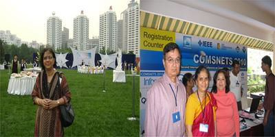 Left:Attending an International Comunications Conference reception, in Beijing.Right:At the IEEE conference in Bangalore with Dr Tugnait and his wife Shobha.