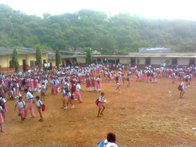 Children playing in the school